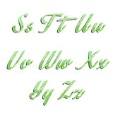 Glossy green alphabet with stripes on white Royalty Free Stock Photography