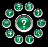 Glossy green buttons with symbols. Stock Photos