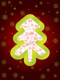 Glossy green christmas tree greeting card Stock Image