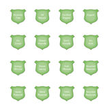 Glossy Green Crest Icon Set Royalty Free Stock Images