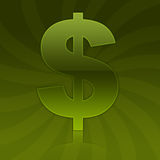 Glossy Green Dollar Sign Symbol Royalty Free Stock Photography