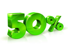 Glossy green 50 Fifty percent off, sale.  on white background, 3D object. Vector illustration Stock Photos