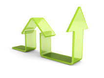 Glossy Green House Icon With Rising Arrow. Real Estate Concept Stock Images