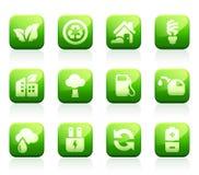 Glossy green icons. Set of 12 glossy green environmental icons Royalty Free Stock Photography