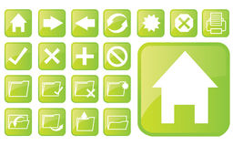 Glossy green icons part2 Royalty Free Stock Photos