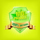 Glossy green shield - BIO PRODUCT Stock Images