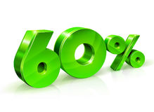 Glossy green 60 Sixty percent off, sale. Isolated on white background, 3D object. Vector illustration Stock Photography