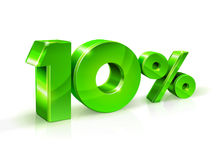 Glossy green 10 Ten percent off, sale.  on white background, 3D object. Vector illustration Stock Image