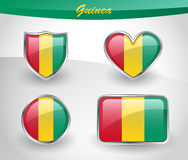 Glossy Guinea flag icon set Royalty Free Stock Images