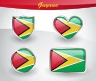 Glossy Guyana flag icon set Stock Image