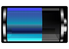 Glossy Half full Blue Battery. Is a digital technologi icon with indication of battery you can change and add as your project Royalty Free Stock Photography