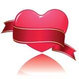 Glossy heart banner Stock Photo
