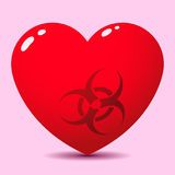 Glossy heart with biohazard symbol Royalty Free Stock Photos