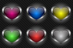 Glossy heart button Stock Photos