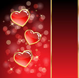 Glossy heart card Stock Photography