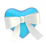 Glossy heart covered with ribbon bow Royalty Free Stock Photo