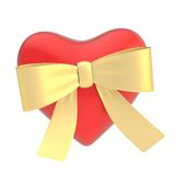 Glossy heart covered with ribbon bow Stock Photos