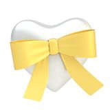 Glossy heart covered with ribbon bow Stock Photo