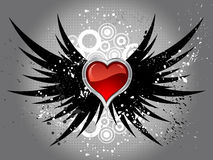 Glossy heart on grunge wings Stock Photography