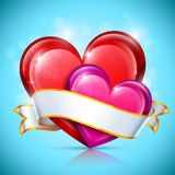 Glossy Heart Icons Royalty Free Stock Image