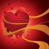 Glossy heart with ribbons Stock Images