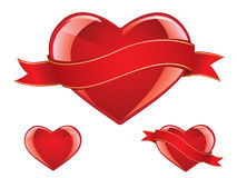 Glossy heart set Royalty Free Stock Photo