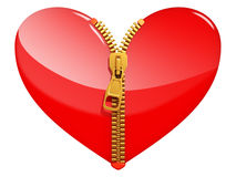 Glossy heart with zipper Stock Images