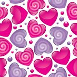 Glossy hearts. Seamless pattern with pink and violet glossy hearts stock illustration