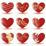 Glossy hearts Stock Images
