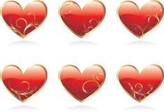 Glossy hearts Royalty Free Stock Photography