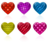 Glossy Hearts Collection Stock Photo