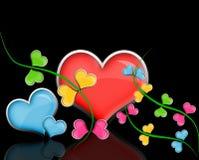 Glossy hearts flowers. Royalty Free Stock Photos