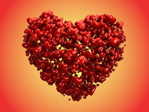 Glossy hearts Forming a big Heart (clipping path) Royalty Free Stock Photos
