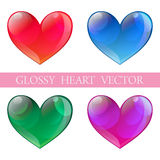 Glossy hearts Stock Photos