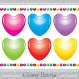 Glossy hearts set Stock Images