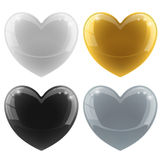 Glossy hearts set. Glossy hearts vector set with color variants – white, black, gold, silver Stock Photography