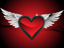 Glossy hearts with wings, red illustration Stock Photo