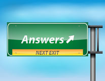 Glossy highway sign with 'Answers' text Royalty Free Stock Photos