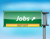 Glossy highway sign with Jobs on next exit Stock Photography