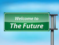 Glossy highway sign with 'welcome to thefuture' text. On a blue background Stock Images