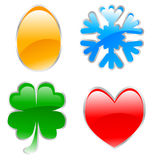 Glossy holiday icons Royalty Free Stock Image