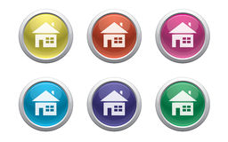 Glossy home buttons. Colour glossy buttons with home symbol Royalty Free Stock Photos