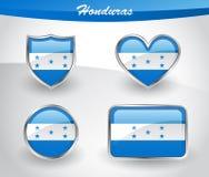 Glossy Honduras flag icon set Stock Photos