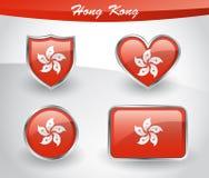 Glossy Hong Kong flag icon set Royalty Free Stock Image