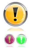 Glossy icon with exclamation mark Royalty Free Stock Photo