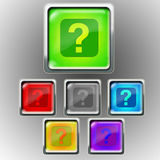 Glossy icon - question mark Royalty Free Stock Photo