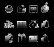Glossy icon set. Set of 12 glossy web icons. Shopping, business and money icon set. Part 4. (see other in my portfolio Stock Image