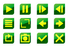 Glossy icon set with buttons Stock Photo