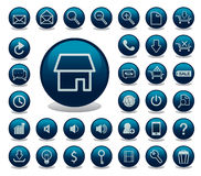 Glossy Icon Set for Web Applications Stock Photos