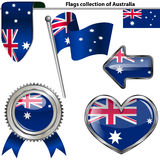 Glossy icons with flag of Australia Stock Photo